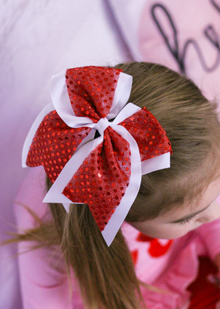 School Spirit Sequin Cheer Bow in Red and White
