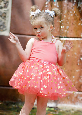 Gold Dot Tutu in Coral