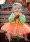 Gold Polka Dot Baby Tutu in Orange