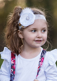 Satin flower and feather lace headband for girls.