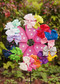 Solid color pinwheel hair bows for girls.