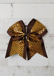 Gold and Brown Sequin cheer bow for girls. Perfect for coordinating with our Autumn and Thanksgiving styles.