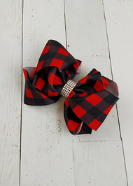 "Red and black buffalo plaid double looped hair bows. These alligator clip bows are approximately 5"" across."
