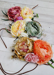 Beautiful tie one (leather tie) cabbage rose headbands in a selection of soft, vintage inspired colors.