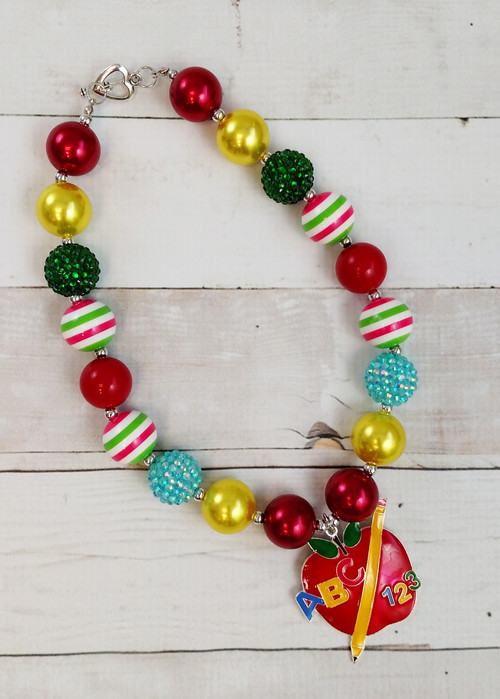 Multicolor chunky bead necklace with apple pendant for Back to School.