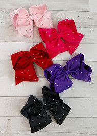 "Texas size hair bows sprinkled with rhinestone embellishments! With 3"" grosgrain ribbon, each bow measures about 7-8"" across. These bows include a toothed style alligator clip to securely attach them."