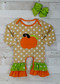 Tan polka dot ruffled romper with pumpkin applique and orange and lime ruffles. Any accessories shown are not included.
