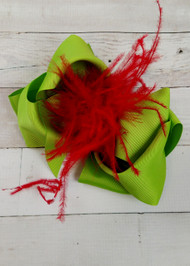 Christmas Cheer Texas Size Lime & Red Ostrich Puff Hair Bow