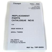 """""""Full Size"""" Triumph Parts Book, 1968 650cc Twins, TR6 Trophy, T120 Bonneville Motorcycles"""