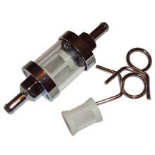 Fuel Filter, ¼ inch Line, Chrome w/Glass Window, BSA, Norton, Triumph Motorcycles, Emgo 14-34451