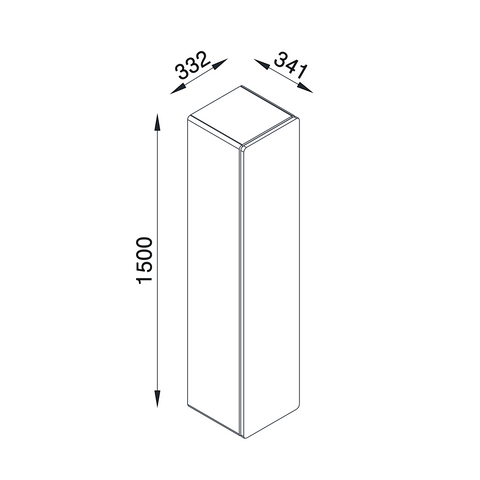 BRANDO Wall Cabinet Line Drawing with all dimensions included (in millimeters). Isometric View