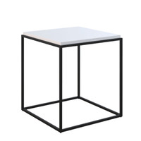 GRID Cube Lamp Table White Gloss with Black Legs