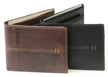 Premium Italian burnished leather billfold wallet