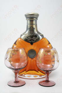 Bou Cognac XO France Gft Pk W/ 2 Glasses 750ml