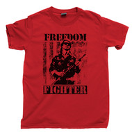 Freedom Fighter Tan T Shirt Rowdy Roddy Piper They Live Movie Red Tee