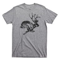 Jackalope T Shirt Jackrabbit With Antelope Horns Cryptid Sport Gray Tee