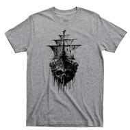 Pirate Skull Ghost Ship T Shirt Jolly Roger Skull & Crossbones Sport Gray Tee
