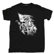Pirate Captain T Shirt Skull & Crossbones Jolly Roger Skeleton Black Tee