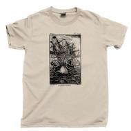 Kraken Attacks Ship T Shirt Giant Octopus Squid Shark Attack Tan Tee