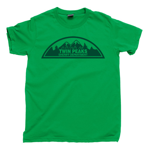 Twin Peaks T Shirt Sheriff Department Harry S. Truman Tommy Hawk Hill Dale Cooper Laura Palmer Owl Cave Irish Green Tee