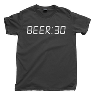 BEER:30 T Shirt Beer 30 Thirty Happy Hour After Work Day Is Over Grab A Cold One Dark Gray Tee