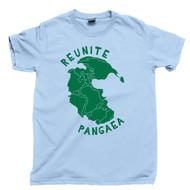 Reunite Pangaea Green T Shirt Supercontinent Pangea Map Light Blue Tee