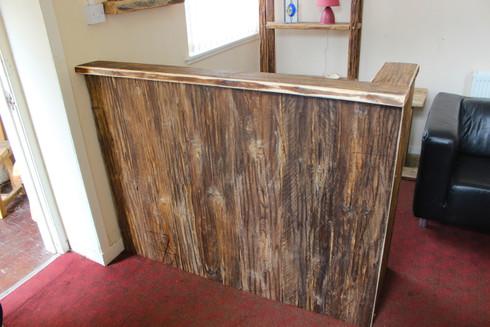 Rustic Wooden Salon Barber Shop Reception Desk