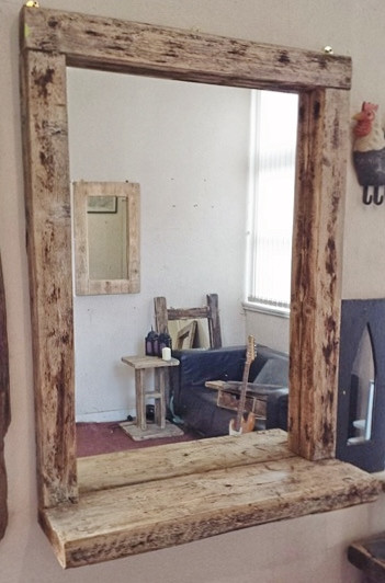 Chunky rustic mirror with shelving - Wooden bathroom mirror with shelf ...