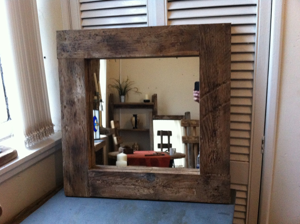 Square Dark Brown Wood Mirror