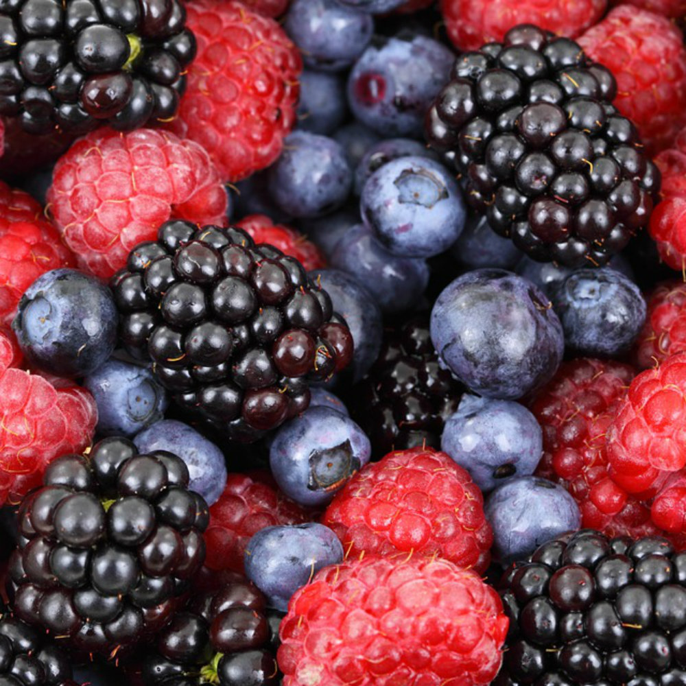 Blueberries, strawberries, raspberries, blackberries