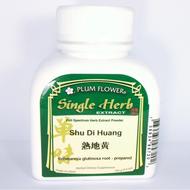 Shu Di Huang, Rehmannia Root (Prepared) Concentrated Powder, Plum Flower brand, 100 gram bottle