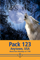 Custom Wolf and Moon Cub Scout Pack Poster (SP4660)