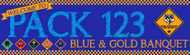 Blue and Gold Banquet Banner with Checkered Border (SP6764)