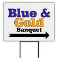 Blue and Gold Banquet Banner Corrugated Plastic Yard Signs (SP6768)