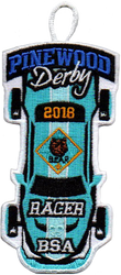 2018 Pinewood Derby Bear Racer Patch