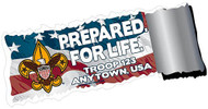 Custom Boy Scout Troop Prepared for Life Flag Car Sticker (SP5430)