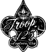 Custom Boy Scout Troop Distressed Fleur De Lis Car Sticker (SP5429)