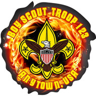 Custom Boy Scout Troop Fire Car Sticker (SP5434)