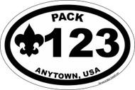 Custom Cub Scout Pack Oval Fleur De Lis Car Sticker (SP5426)