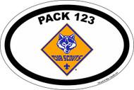 Custom Cub Scout Pack Oval Color Cub Logo Car Sticker (SP5424)
