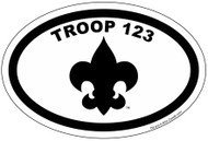Custom Boy Scout Troop Oval with Fleur-de-lis Car Sticker (SP4625)