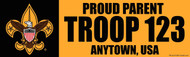 Custom Proud Parent Boy Scout Troop Bumper Sticker - Gold (SP4621)