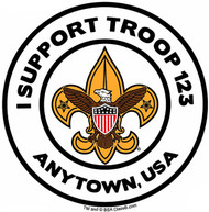 Custom I Support BSA Troop Car Sticker with Color Logo (SP5486)