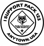 Custom I Support Cub Scout Pack Car Sticker (SP5490)