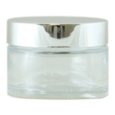 SLIM CLEAR GLASS JAR 50ML SILVER CAP