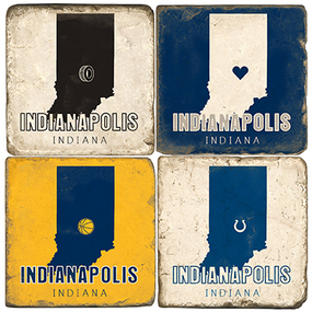 Indianapolis Indiana Coaster Set.  Handmand Marble Giftware by Studio Vertu.