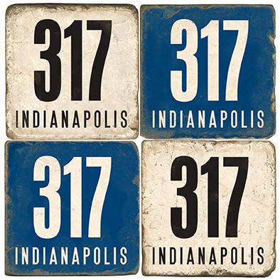 Indiana Indianapolis Area Code 317 Coaster Set. Handmade Marble Giftware by Studio Vertu.