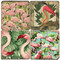 Flamingo and Frond Coaster Set.  Handmade Marble Giftware by Studio Vertu.