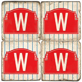 Wrigleyville Chicago Coaster Set. Handmade Marble Giftware by Studio Vertu.