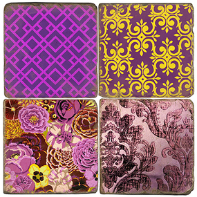 Purple Plum Perfect Coaster Set. Tumbled Italian Giftware by Studio Vertu.
